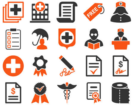 Medical icon set. Style is bicolor icons drawn with orange and gray colors on a white background.