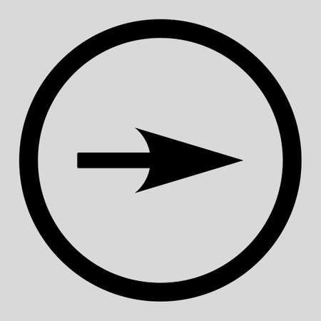 x axis: Arrow Axis X vector icon. This rounded flat symbol is drawn with black color on a light gray background. Illustration