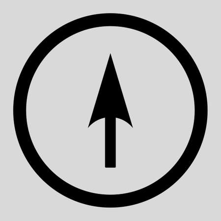 ordinate: Arrow Axis Y vector icon. This rounded flat symbol is drawn with black color on a light gray background.