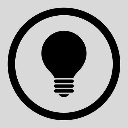 electric bulb: Electric Bulb vector icon. This rounded flat symbol is drawn with black color on a light gray background. Illustration