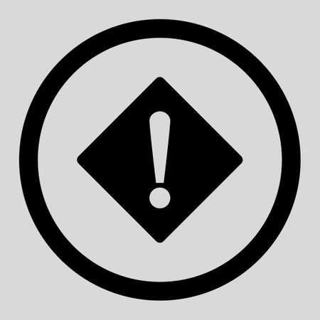 exclaim: Error vector icon. This rounded flat symbol is drawn with black color on a light gray background.