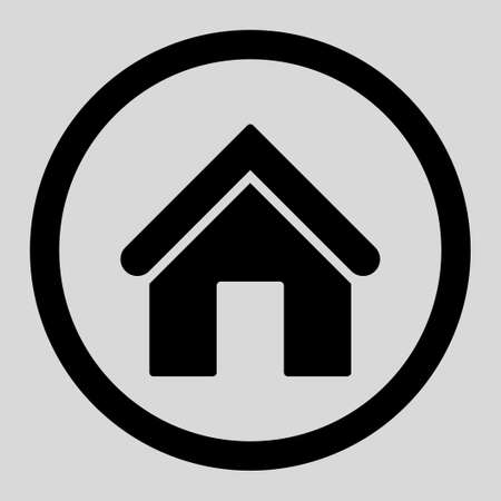 birthplace: Home vector icon. This rounded flat symbol is drawn with black color on a light gray background. Illustration