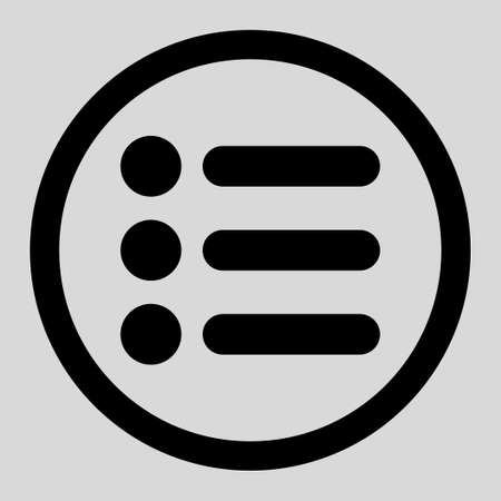 item list: Items vector icon. This rounded flat symbol is drawn with black color on a light gray background.