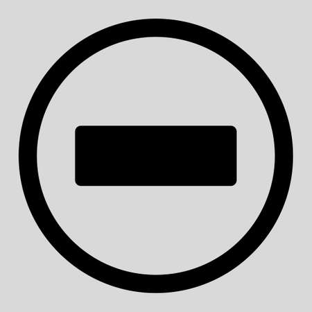 subtract: Minus vector icon. This rounded flat symbol is drawn with black color on a light gray background. Illustration