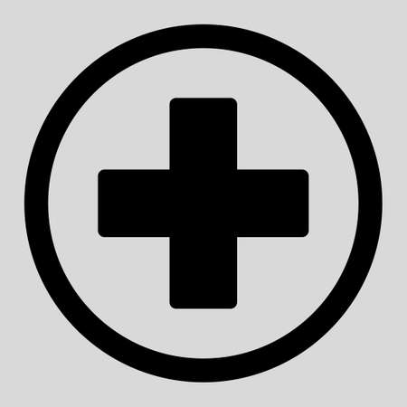 make summary: Plus vector icon. This rounded flat symbol is drawn with black color on a light gray background. Illustration