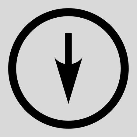 penetrating: Sharp Down Arrow vector icon. This rounded flat symbol is drawn with black color on a light gray background.
