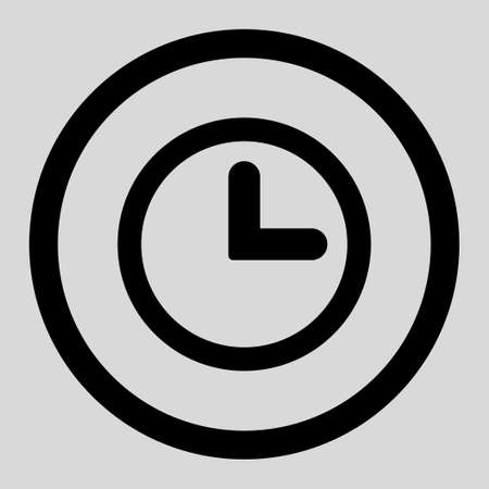 clockface: Clock vector icon. This rounded flat symbol is drawn with black color on a light gray background.