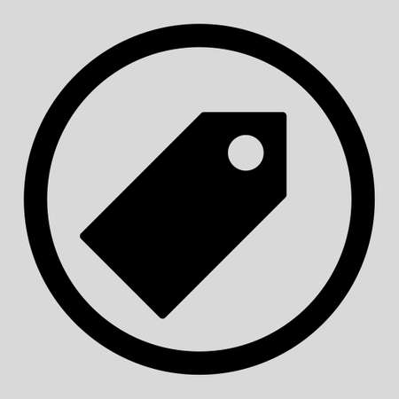 operand: Tag vector icon. This rounded flat symbol is drawn with black color on a light gray background. Illustration