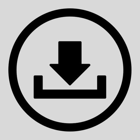 dropbox: Download vector icon. This rounded flat symbol is drawn with black color on a light gray background.