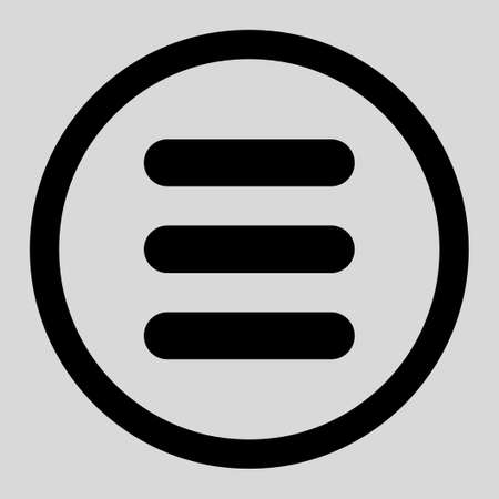 enumerated: Stack vector icon. This rounded flat symbol is drawn with black color on a light gray background.