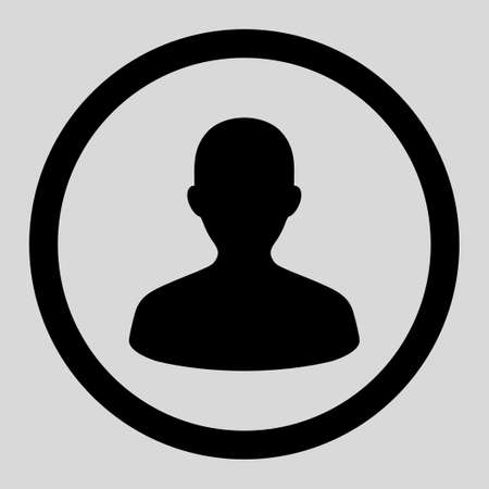 human face: User vector icon. This rounded flat symbol is drawn with black color on a light gray background.