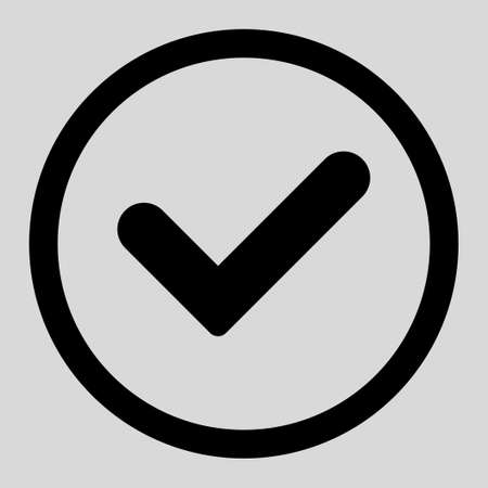 valid: Yes vector icon. This rounded flat symbol is drawn with black color on a light gray background.