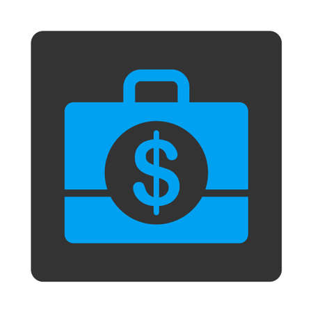 treasury: Accounting vector icon. This flat rounded square button uses blue and gray colors and isolated on a white background.