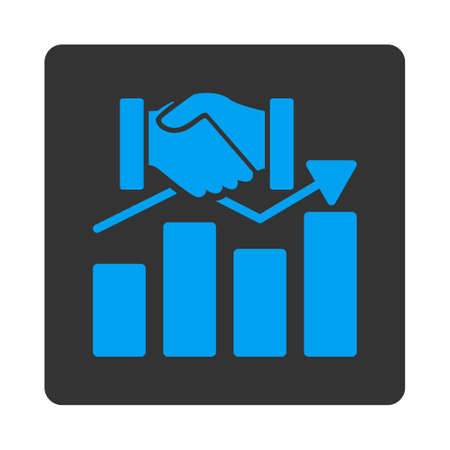 acquisition: Acquisition Graph vector icon. This flat rounded square button uses blue and gray colors and isolated on a white background. Illustration