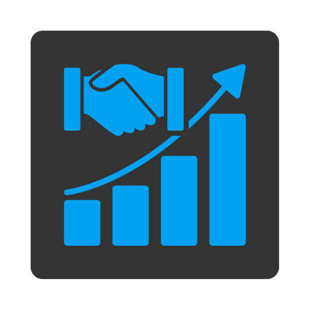 acquisition: Acquisition Growth vector icon. This flat rounded square button uses blue and gray colors and isolated on a white background.