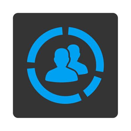 demografia: Demografía Diagrama del icono del vector. Este botón cuadrado redondeado plana utiliza los colores azul y gris y aislado en un fondo blanco.
