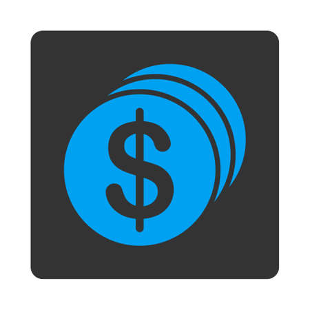 dollar coins: Dollar Coins vector icon. This flat rounded square button uses blue and gray colors and isolated on a white background. Illustration