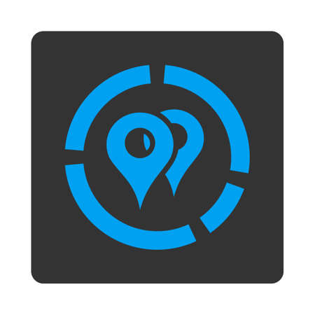 geo: Geo Diagram vector icon. This flat rounded square button uses blue and gray colors and isolated on a white background.