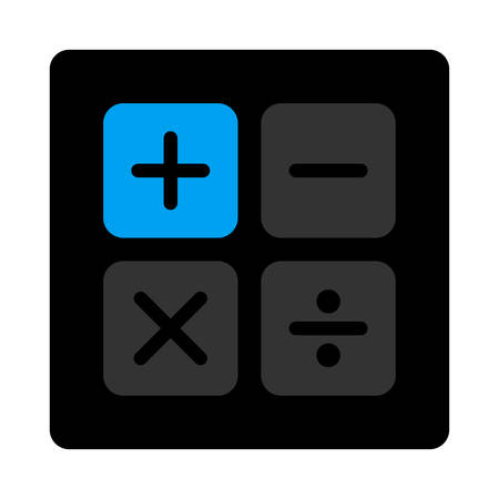 subtract: Calculator icon. This flat rounded square black button uses gray and blue colors and isolated on a white background.