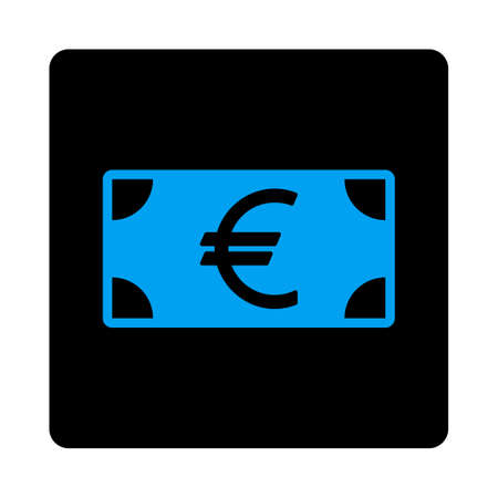 Euro Banknote icon. This flat rounded square black button uses gray and blue colors and isolated on a white background.
