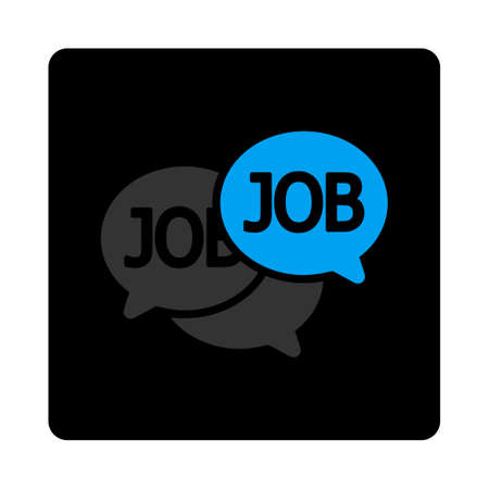 labor market: Labor Market icon. This flat rounded square black button uses gray and blue colors and isolated on a white background. Illustration