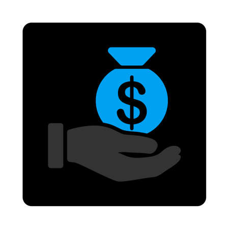 passive earnings: Payment icon. This flat rounded square black button uses gray and blue colors and isolated on a white background.