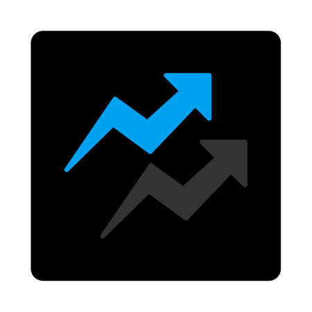 trends: Trends icon. This flat rounded square black button uses gray and blue colors and isolated on a white background. Illustration