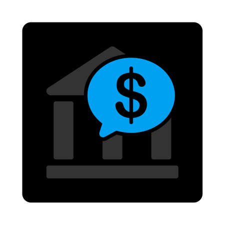 bank overschrijving: Bank Transfer icon. This flat rounded square black button uses gray and blue colors and isolated on a white background. Stockfoto