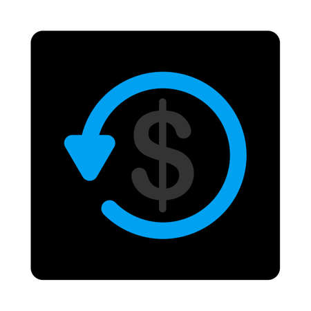 restitution: Refund icon. This flat rounded square black button uses gray and blue colors and isolated on a white background. Stock Photo