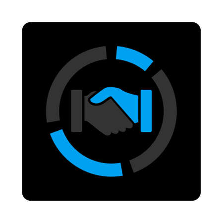acquisition: Acquisition diagram icon. Glyph style is bicolor flat symbol, gray and light blue colors, black rounded square button, white background. Stock Photo
