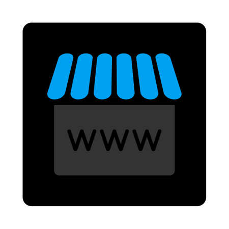 alibaba: Webstore icon. Glyph style is bicolor flat symbol, gray and light blue colors, black rounded square button, white background. Stock Photo