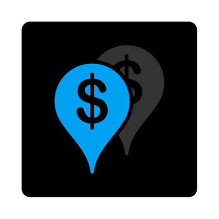 Bank locations icon. Vector style is gray and light blue colors, flat rounded square black button on a white background.