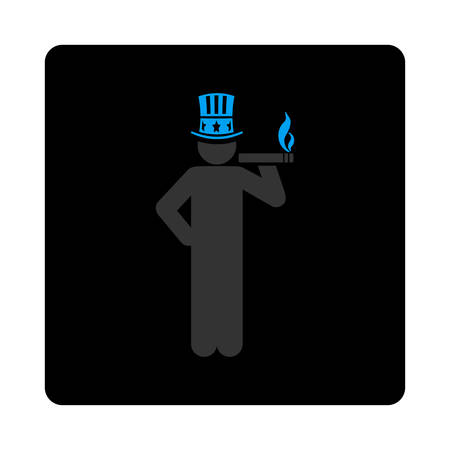 king master: Capitalist icon. Vector style is gray and light blue colors, flat rounded square black button on a white background.