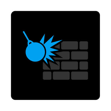 Destruction icon. Vector style is gray and light blue colors, flat rounded square black button on a white background.