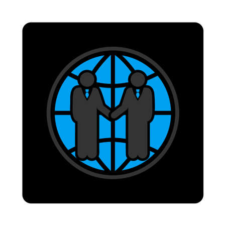 partnership icon: Global partnership icon. Vector style is gray and light blue colors, flat rounded square black button on a white background. Illustration