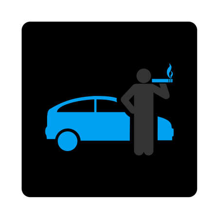 ciggy: Smoking taxi driver icon. Glyph style is gray and light blue colors, flat rounded square black button on a white background.