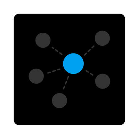 atomic center: Connections icon. Glyph style is gray and light blue colors, flat rounded square black button on a white background.