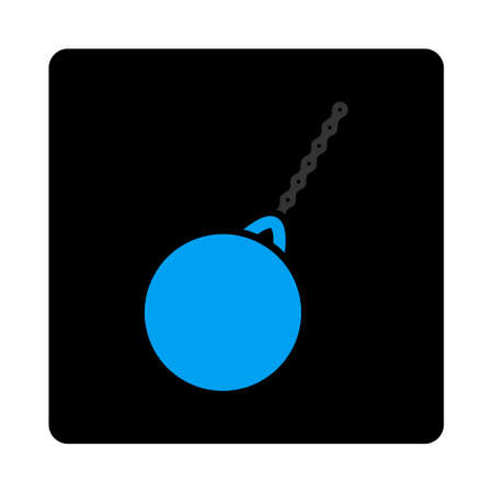impact tool: Destruction hammer icon. Glyph style is gray and light blue colors, flat rounded square black button on a white background. Stock Photo