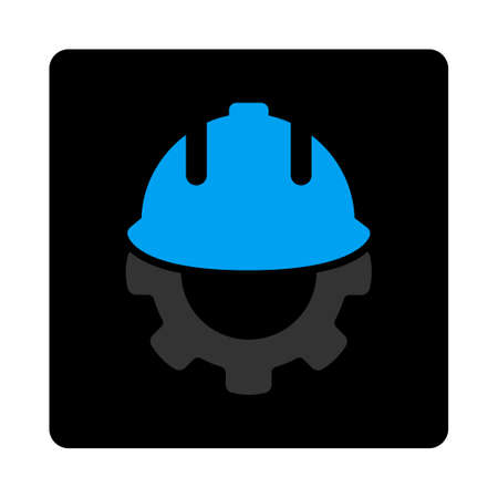 config: Development icon. Glyph style is gray and light blue colors, flat rounded square black button on a white background.