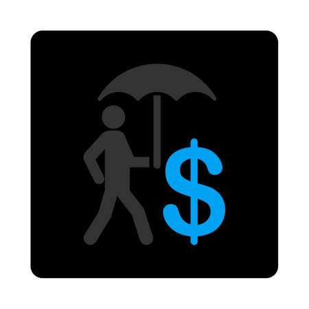 whitebackground: Umbrella icon. This flat glyph symbol uses gray and blue, rounded angles, and whitebackground on a whitebackground.