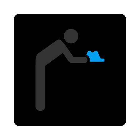 beggary: Servant icon. Glyph style is gray and light blue colors, flat rounded square black button on a white background.