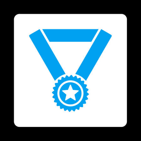 favorite number: Winner medal icon. Icon style is blue and white colors, flat rounded square button, black background.