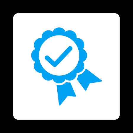 approved icon: Approved icon. Icon style is blue and white colors, flat rounded square button, black background.