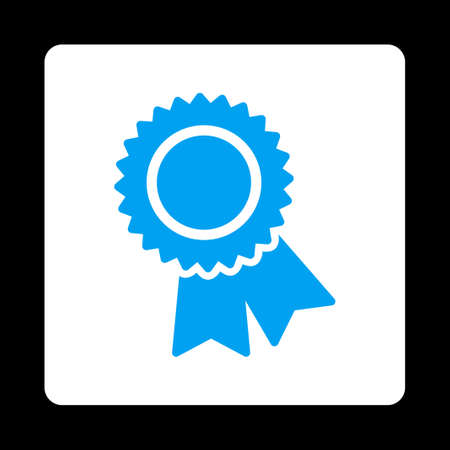 best quality: Certification icon. Icon style is blue and white colors, flat rounded square button, black background.