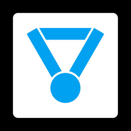 favorite number: Champion award icon. Icon style is blue and white colors, flat rounded square button, black background.