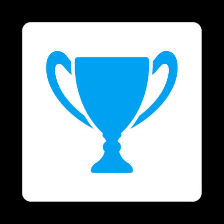 black button: Cup icon. Icon style is blue and white colors, flat rounded square button, black background. Illustration