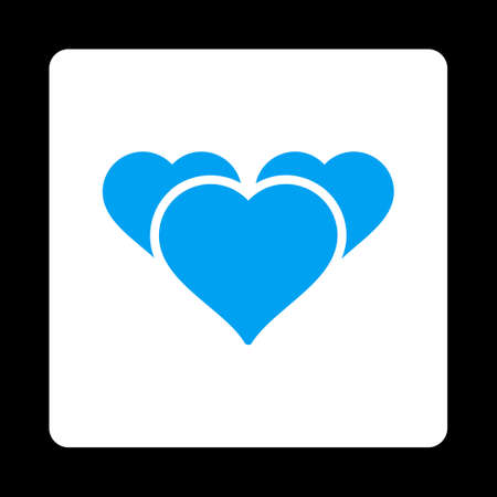 favourites: Favourites icon. Icon style is blue and white colors, flat rounded square button, black background.
