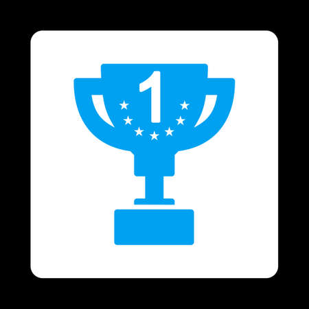 first prize: First prize icon. Icon style is blue and white colors, flat rounded square button, black background. Illustration