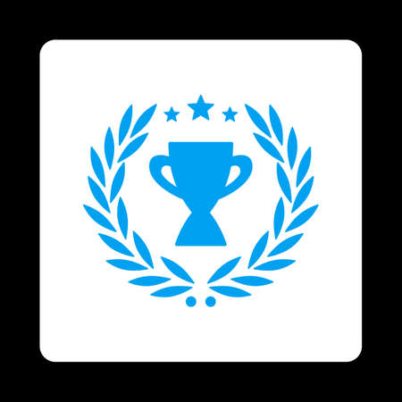cognizance: Glory icon. Icon style is blue and white colors, flat rounded square button, black background. Illustration