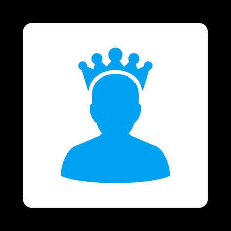 czar: King icon. Icon style is blue and white colors, flat rounded square button, black background.